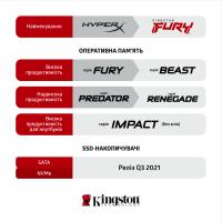 Модуль памяти для компьютера DDR3 8GB 1866 MHz Fury Beast Red HyperX (Kingston Fury) (KF318C10BR/8) Diawest