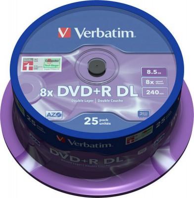 Диск Verbatim 8.5Gb 8x CakeBox 25шт Matt Silver (DVD+R DL 8,5GB 8x Spindle Packaging 25шт (43757))