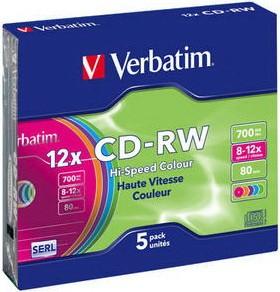 Диск Verbatim 700Mb 12X SlimBox 5шт Color (43167)