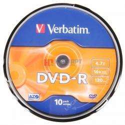 Диск DVD Verbatim 4.7Gb 16X CakeBox 10шт (43523)
