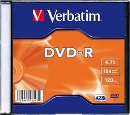 Диск Verbatim DVD-R 4,7GB 16x Slim Case 1шт (43547)